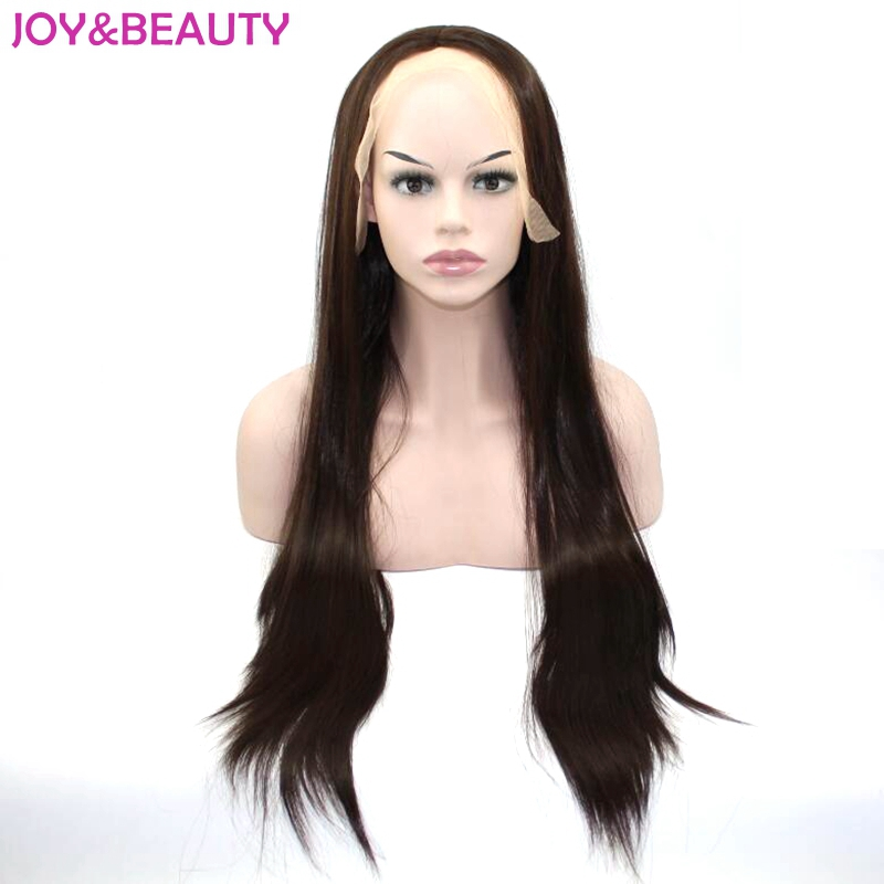 JOY&BEAUTY Hair Dark Brown Synthetic Hair Lace Front wigs  Heat Resistant Long Straight Wig 26 inch Free Shipping