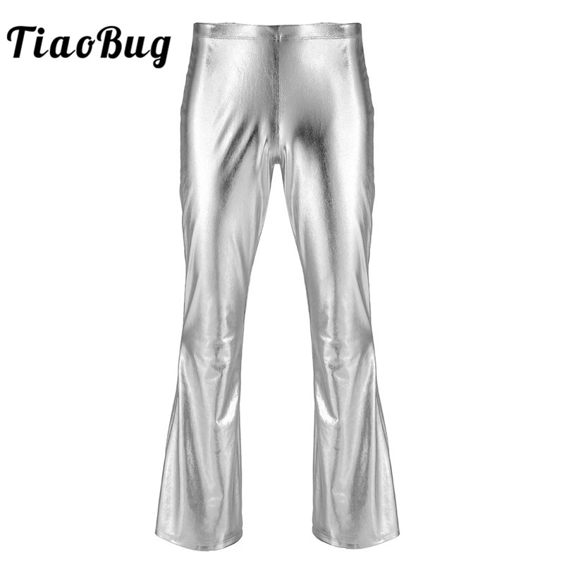 TiaoBug Men Shiny Metallic Stage Dance Costume Disco Pants Male Long Flare Pants Club Festival Rave Trousers Jazz Dance Costumes
