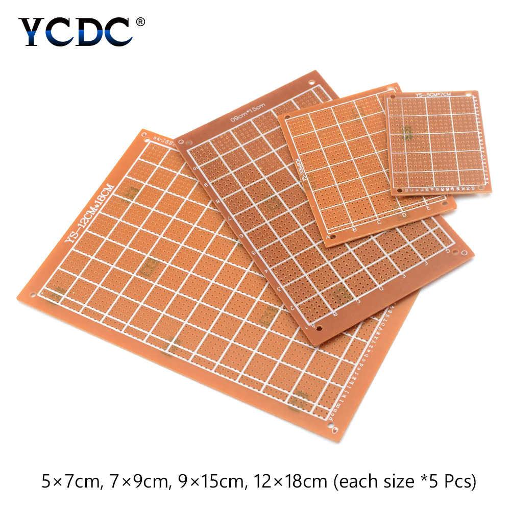 20Pcs Prototyping PCB Printed Circuit Board 4 Sizes Mixture For DIY Arduino  5x7cm 7x9cm 9x15cm 12x18cm