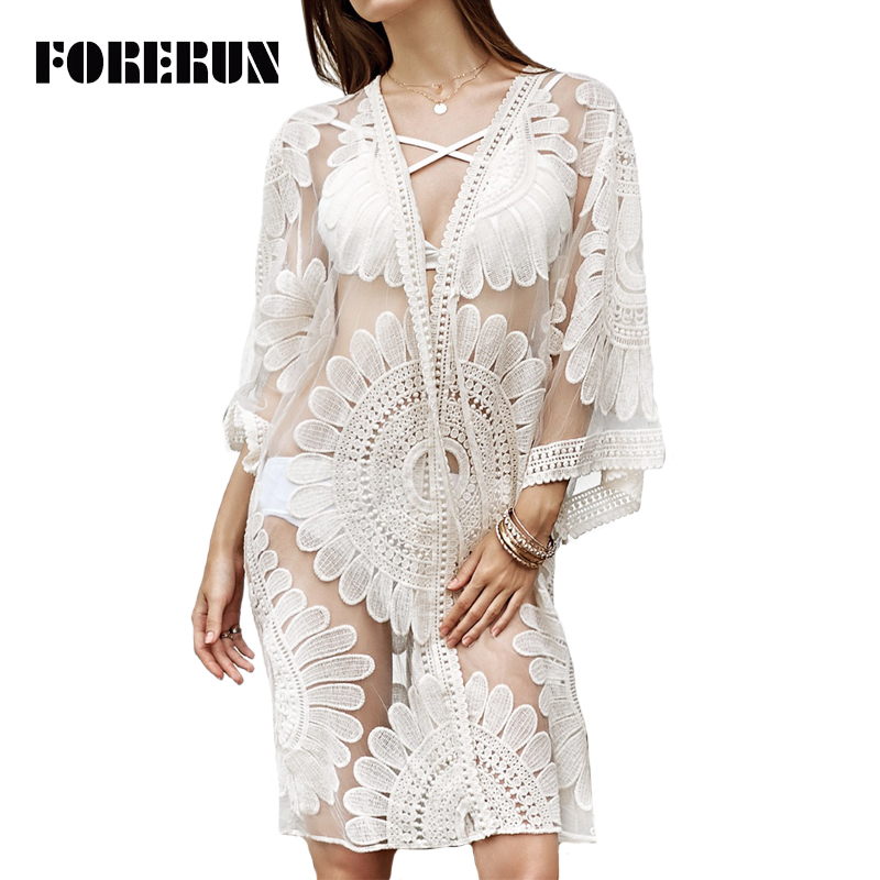 Forerun 2017 Floral Embroidery Beach Blouses Women Transparent White Lace Kimono -9347