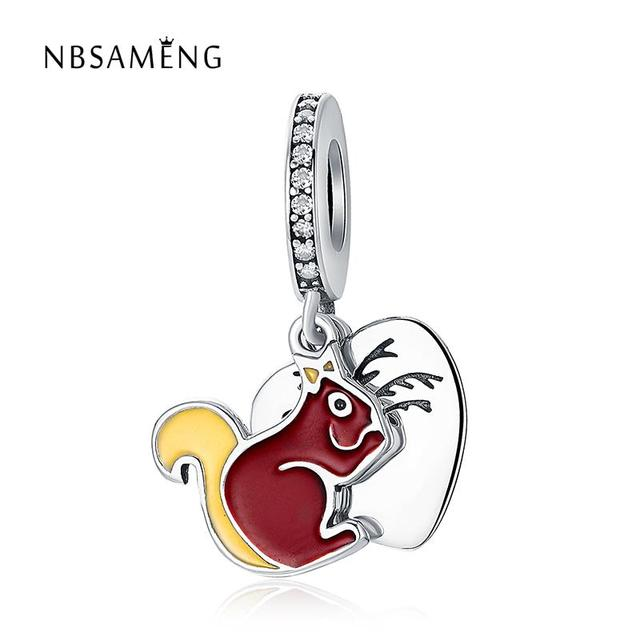 6b0638eb5 2018 Original 925 Sterling Silver Bead Red Cute Squirrel Necklace Pendant  Handing Fit Pandora Bracelets DIY Charms Jewelry