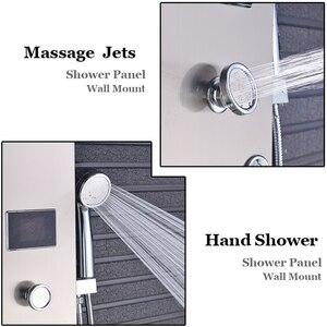 Image 4 - Душевая панель Senlesen из нержавеющей стали, светодиодный Водопад, душевая головка, Керамический клапан, смеситель для воды, для ванной комнаты