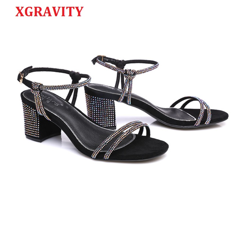 XGRAVITY 2019 High Chunky Heel Pumps Colorful Rhinestone Design Women Sexy Lady Evening Party Ladies Strap Dress Sandals s A086