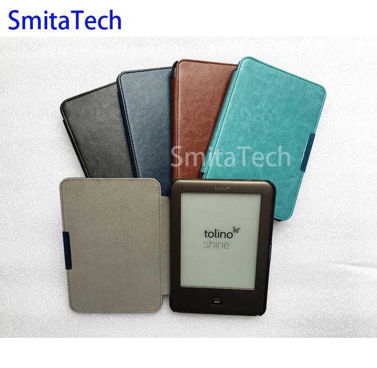 6.0 inch E book reader leather case for tolino shine ereader hard back cover one piece