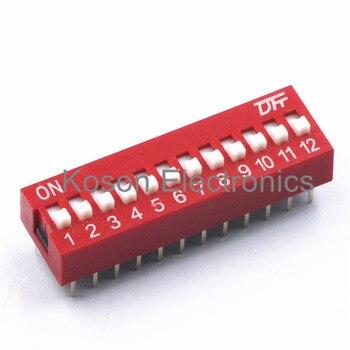 5 uds. Interruptor DIP de 12 vías, 2,54mm, interruptor rojo, interruptor rápido