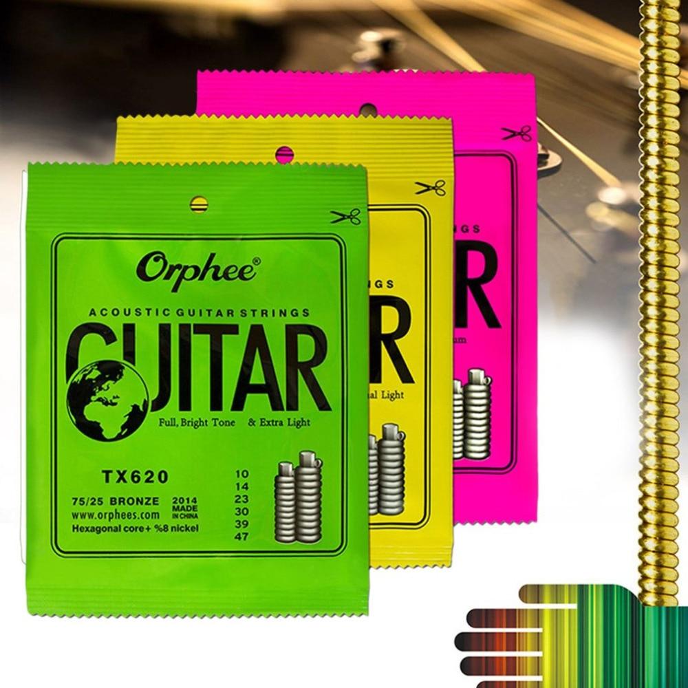 1 Set Acoustic Guitar String Hexagonal core+8% nickel FULL,Bronze Bright tone&Extra light Extra Light Medium 6 Circles in Parcel