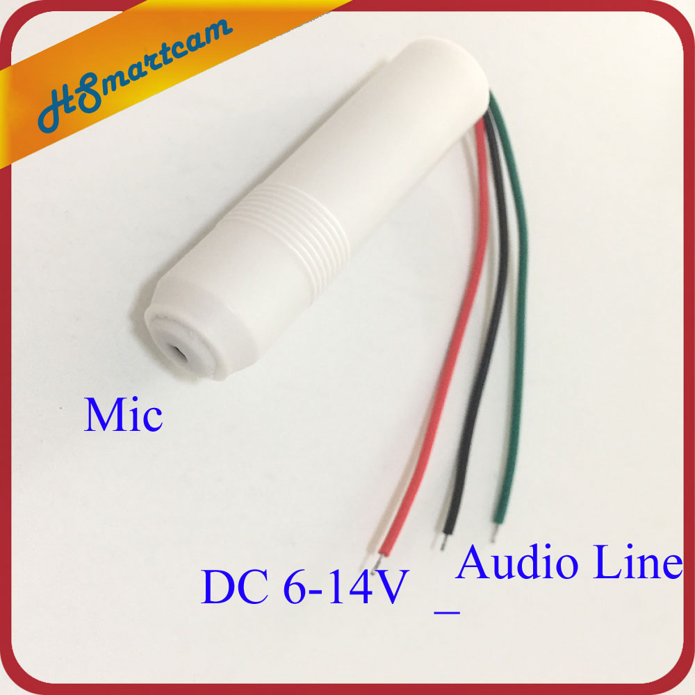 CCTV Microphone Audio Built-in Box Extremely Sensitive Mic Audio Cable 6-14 V DC Power For CCTV Security Camera DVR Systems