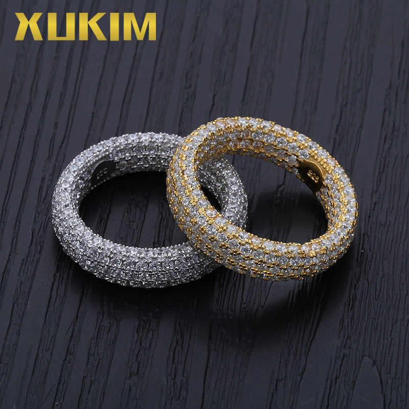 Xukim เครื่องประดับ Full Iced Out สามชั้น 925 เงินสเตอร์ลิง Hip Hop แหวนงานแต่งงานแหวนหมั้นแหวนของขวัญเครื่องประดับสำหรับบุรุษผู้หญิง