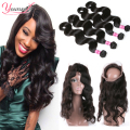 Brazilian Virgin Hair Body Wave With Frontal Closure 360 Lace Band Frontal With Bundles Brazilian 360 Lace Frontal Body Wave 7a