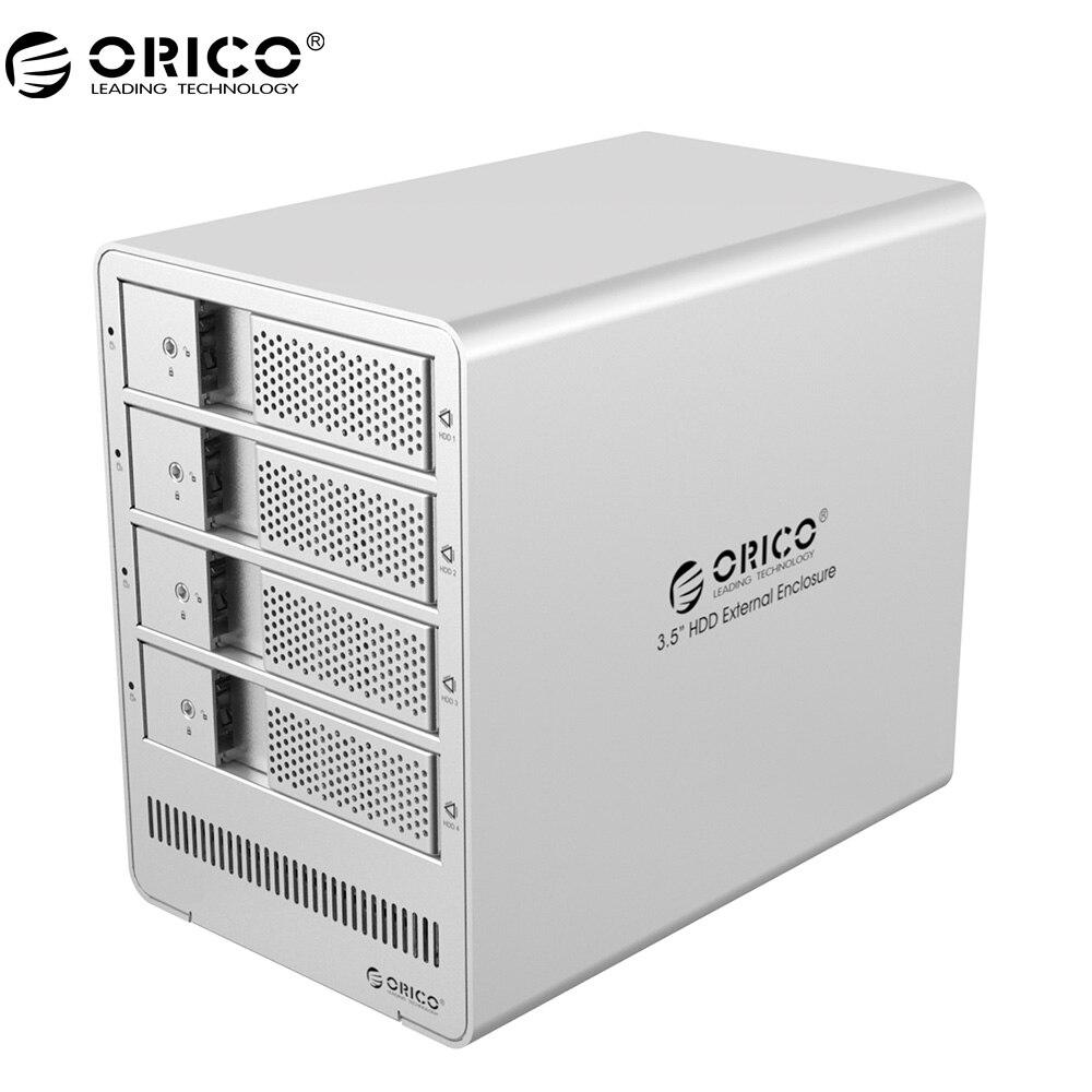 все цены на ORICO Aluminum 4 bay 3.5 inch SATA Drive Enclosure USB3.0 4*8TB Tool Free with 12V6.5A Power Adapter 9548U3-V1  Silver онлайн