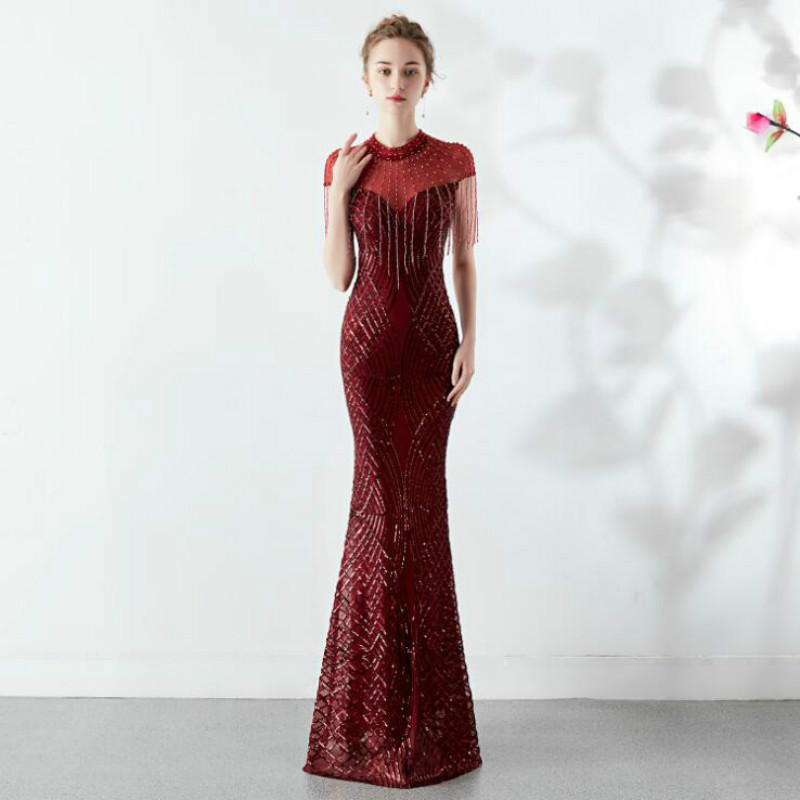 U-SWEAR 2019 New Arrival   Bridesmaid     Dress   Sequined O-Neck Illusion Beading Mermaid/Trumpet Sexy Slim Long Party   Dresses   Vestidos