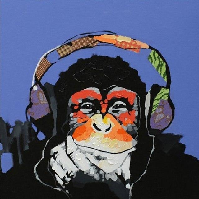 Ölgemälde Handgemalt Auf Leinwand Gestreckt Fertig Zum Aufhängen Affe Kunst  Für Wohnkultur Kinderzimmer (24x24in,