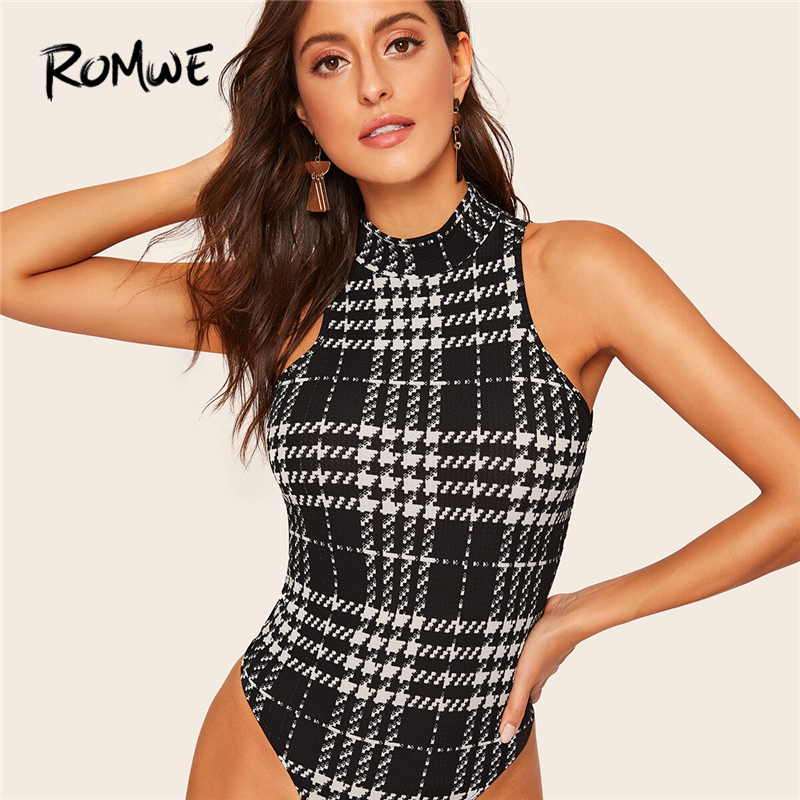 ROMWE Black And White Plaid Mock-neck Houndstooth Skinny Bodysuit Women Summer Elegant Stand Collar Sleeveless Tank Bodysuits