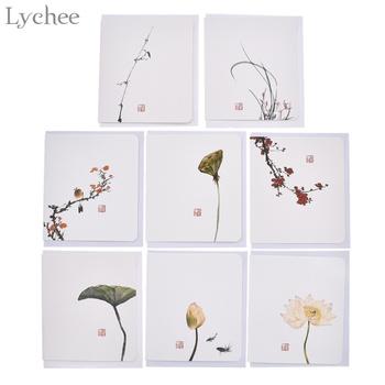 Lychee 10 sztuk klasyczny chiński kwiat pocztówki z koperta pozdrowienia wiadomość karty urodziny ślub Party zaproszenie karty tanie i dobre opinie paper