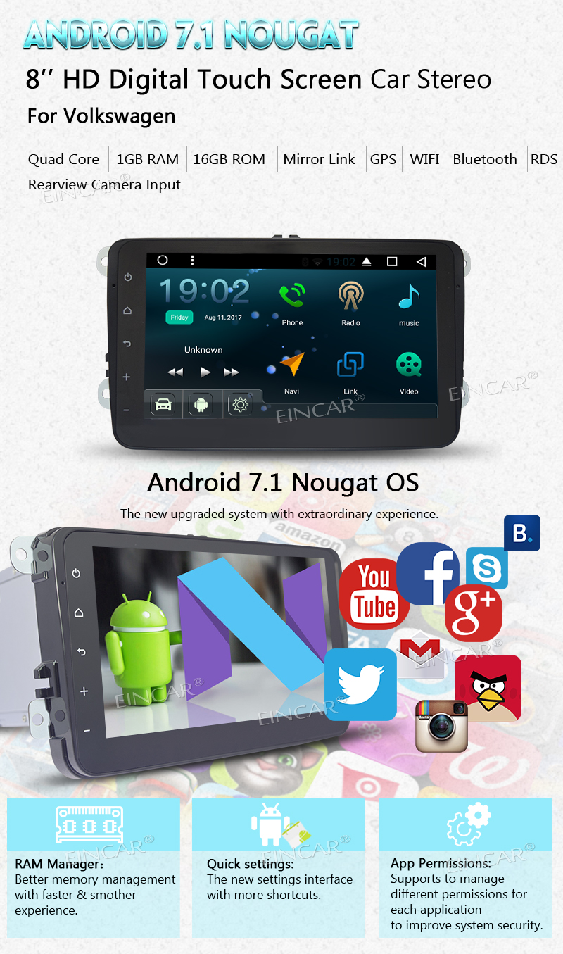 "EinCar 8 "" Quad Core Android 7.1 2Din Car stereo headunit GPS Navigation with CANBUS for VW Jetta / Golf / Passat Bluetooth Wifi"