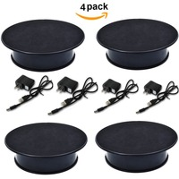 4pcs Black Color Velvet Top Motorized Rotating Display Stand for Jewelry Model Hobby Collectible Product and other Small Stuff