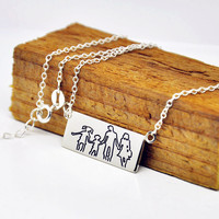Wholesale Sterling Silver Bar Engraved Picture Outline Hand Drawing Personalized Handwriting Family Pendent Collar Collier