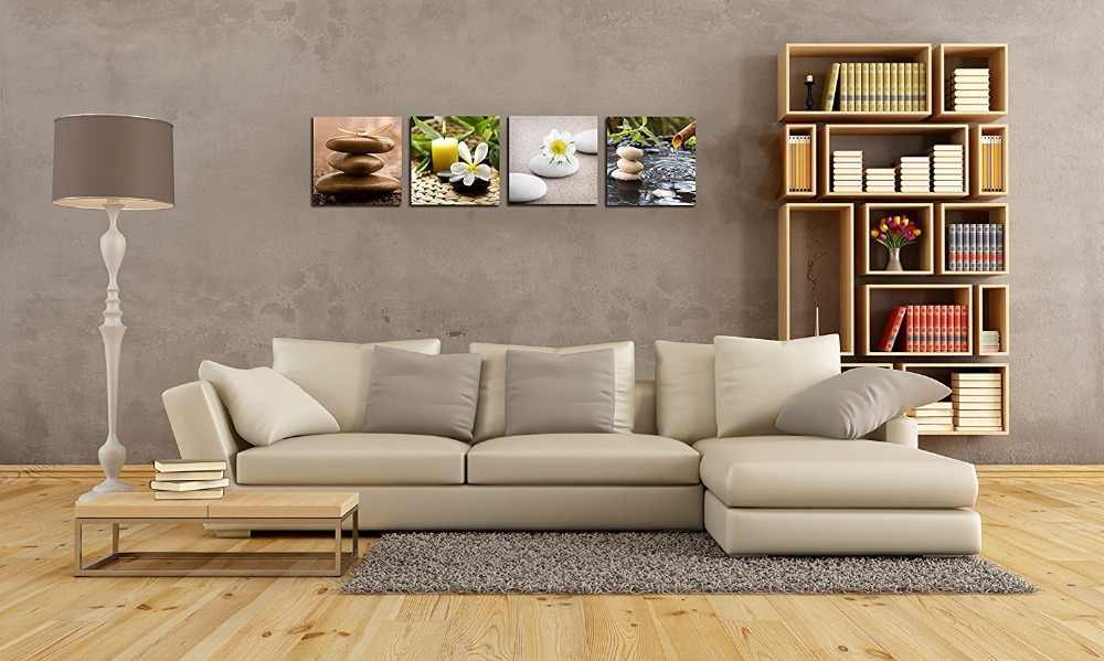 Bamboo Green Pictures with SPA Zen Stone Candles Print on Canvas Wall Art for Home Bathroom Living Room Bedroom Decor