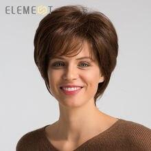 Element 6 Cal krótki peruka syntetyczna z boku Fringe mieszanka 50% ludzki włos wysokiej gęstości Glueless brązowy fryzura Pixie peruki dla kobiet