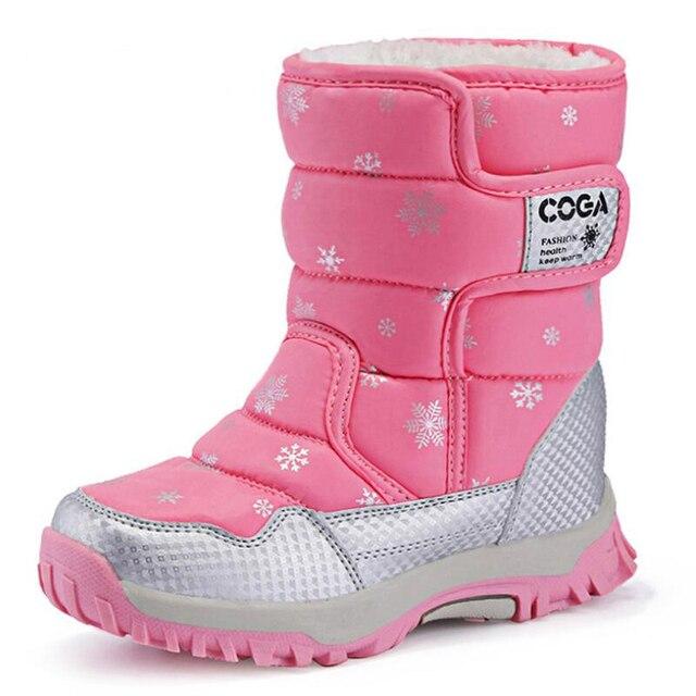 SKHEK Meninas Botas de Neve Crianças Inverno Botas Forro de Pelúcia Quente Sapatos À Prova D Água Para A Menina Antiderrapante Doce Cor Preto Vermelho Roxo