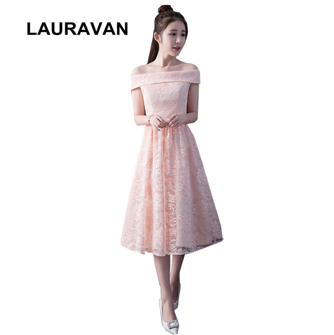 off shoulder boat neck tea length bridesmaides sleeveless bridesmaids dresses pink ball gowns for wedding guests under 50