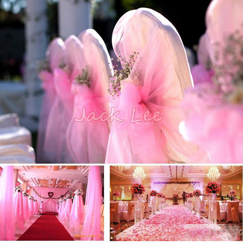 Haochu 0 75m Wide 20m Long Organza Fabric Crystal Sheer Tulle Roll D Wedding Party Decoration 19 Color For Choose In Diy Decorations