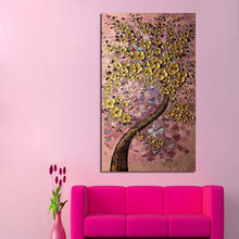 Handpainted Abstract Money Tree Oil Paintings On Canvas Golden Pink Background Wall Picture Modern Decor Free Shipping Art