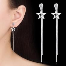 New Fashion Jewelry Five-pointed Star Drop Earring For Women Best Selling Simple Popular Silver Stars Pentagram