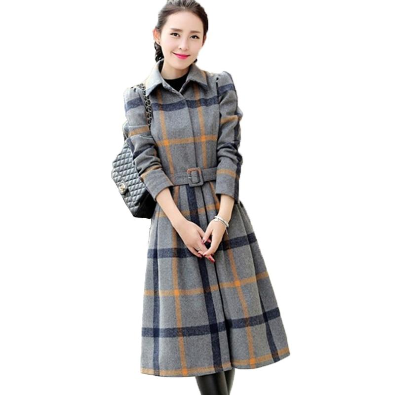 Women Autumn Winter Woolen Dress Fashion A line Slim Warm Plaid Woolen Dresses Jacket Large size