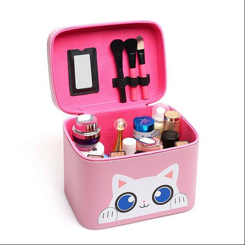 2017 Cat Portable Cosmetic Box Extendable Makeup Train Case Makeup Storage Brush Holder Makeup Big Capacity Organizer Case 360 degree rotation transparent makeup organizer case cosmetic brush storage holder box can freely change storey hight