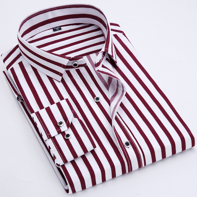 Business men casual fashion stripe long sleeved shirts 1