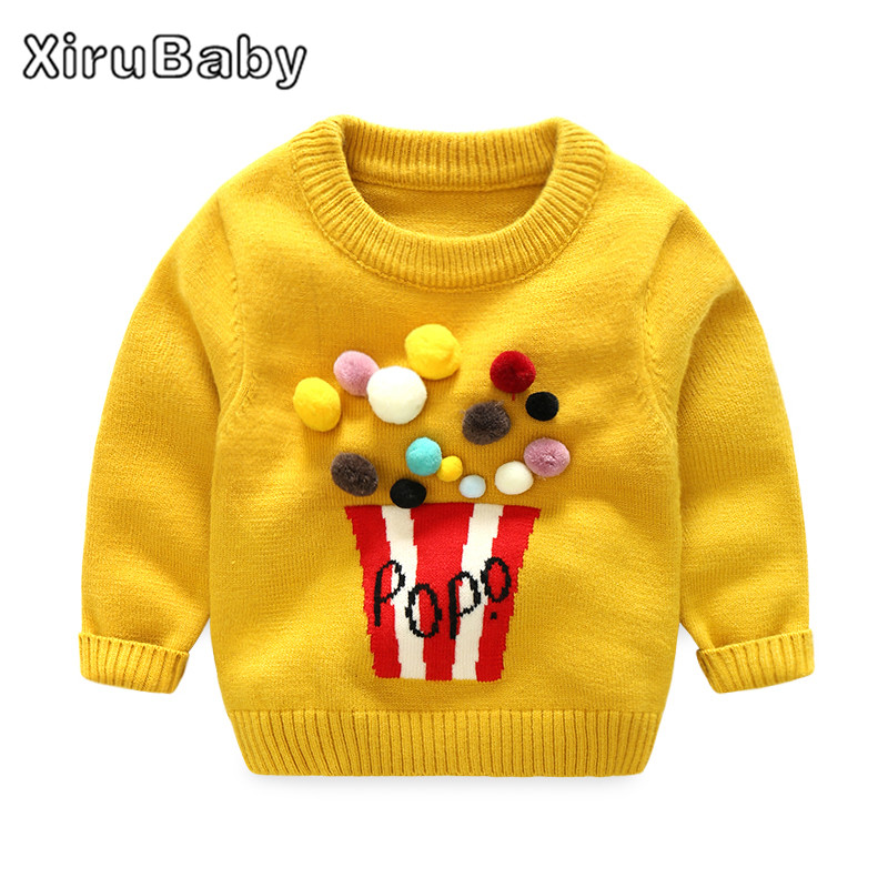 Xirubaby 2017 Autumn Winter Baby Girls Sweaters Newborn Boys Long Sleeve Pompon Warm Knitted Clothes Baby Cartoon Woolen Sweater