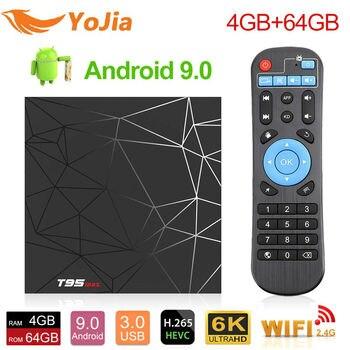 T95MAX Android 9,0 ТВ-бокс T95 MAX Allwinner H6 Четырехъядерный 4 Гб ram 32 Гб 64 Гб 16 Гб H.265 6 K HD tv Box 2,4G Wifi беспроводной телеприставка