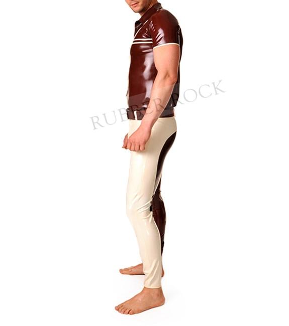 Camisa de látex Marrom Com Leggings de Látex Sext Terno Apertado - 3