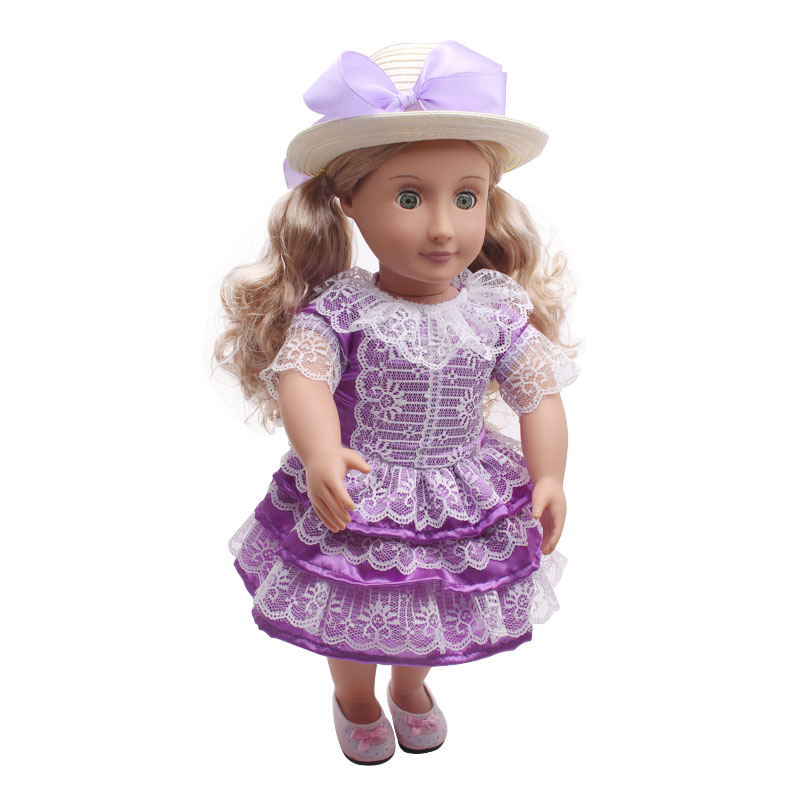 Four color choose pure manual 18-inch doll dress American girl dolls clothes skirt + head ring (No hat)