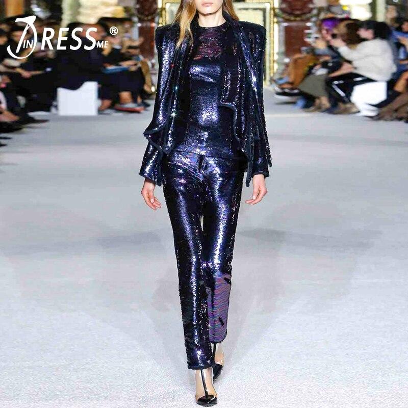 a7a29b787b INDRESSME 2019 de moda cuello en V Sexy lentejuelas chaqueta de encaje  arriba pantalón largo trajes conjunto Formal de mujer
