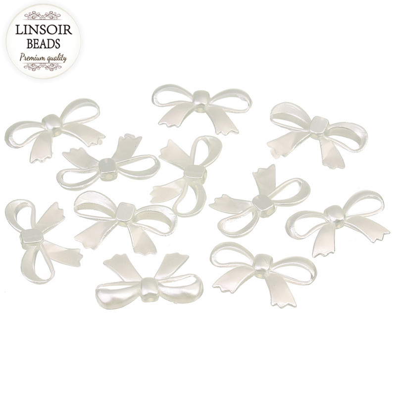 Linsoir 50pcs/lot 17mm*27mm Abs Imitation Bowknot Pearl Beads Loose Half Pearl Beads For Diy Jewelry Making Findings F1542 Drip-Dry Jewelry & Accessories