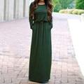 Plus Size 2016 Autumn Women Elegant Maxi Long Dress O Neck Long Sleeve Casual Loose Solid Dress Plus Size With Belt Vestidos