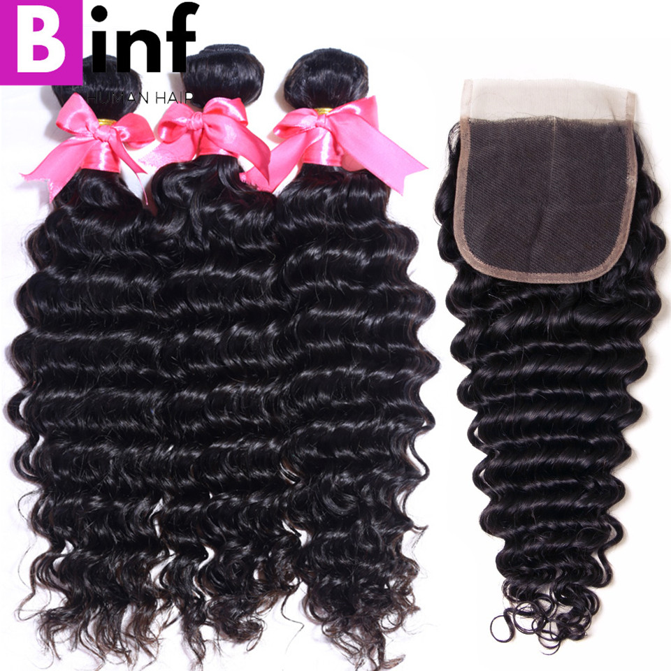 BINF Hair Indian Remy Hair Deep Wave 3 Bundles With Closure Nature Black Color 100 Human