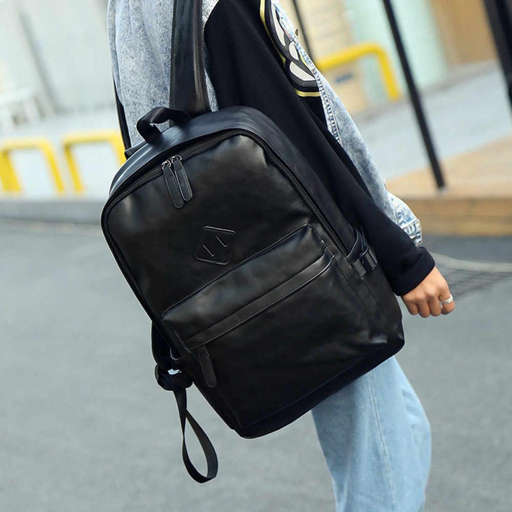 Ocardian bolsa de couro neutro mochila portátil bolsa de viagem escola saco masculino moda feminina mochila mar20