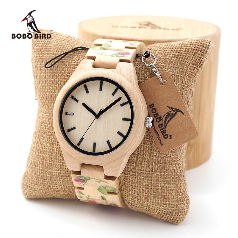Женские и мужские кварцевые наручные часы BOBO BIRD с принтом розы и кленового дерева, браслет из бамбука и дерева в подарок, бесплатная доставка