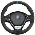 Xuji preto tampa da roda de direcção do carro de camurça azul marcador para bmw 320d 320i 328i f30 f20
