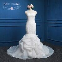 กุหลาบModa Organzaนางเงือกชุดแต่งงานสีขาวงาช้างสีชมพูชุดแต่งงานตัดออกกลับขนาดบวกภาพถ่ายจริ