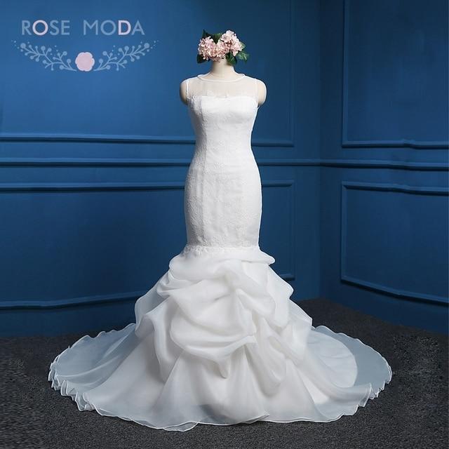 Rose Moda Organza Mermaid Wedding Dress White Ivory Pink Wedding ...