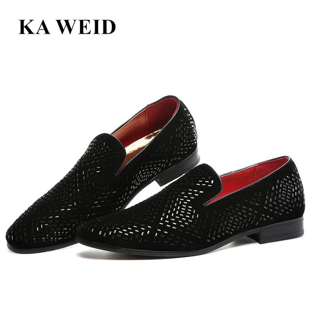 3ce0cf02e05d italian elegant slip on suede leather loafer shoes for men studded footwear male  spiked fashion unique pointed toe ballet flats