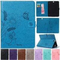 Luxury Cute Cartoon Flower Butterfly Leather Flip Fundas Case For Coque Samsung Galaxy Tab S2 S