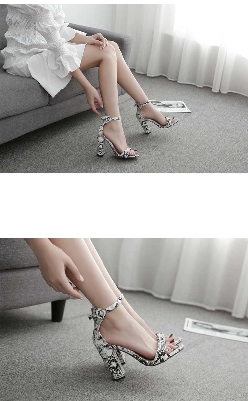 HTB1i1GfXPDuK1Rjy1zjq6zraFXaY Eilyken Women Ankle Strap Sandals Snake Print Square heel Fashion Pointed toe Ladies Fashion shoes 2019 New Women Sandals