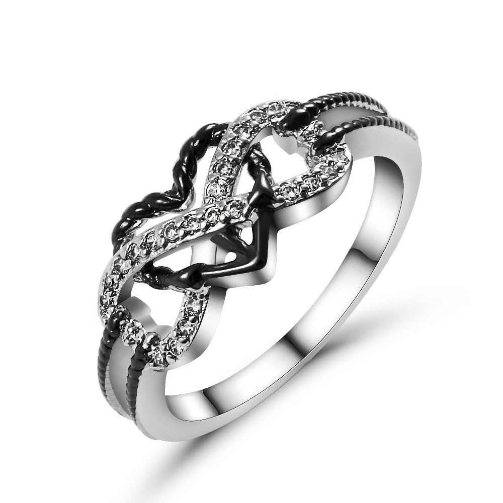 เงิน anillos ทองแดง para las mujeres Love Heart แหวนเดิมเครื่องประดับงานแต่งงานของขวัญวันแม่เคลือบสีดำ joyas
