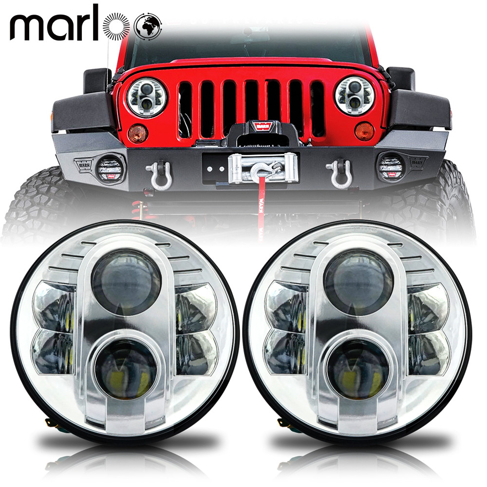 Marloo 2pcs For Hummer H1 H2 Led Headlight 80W 7 Inch Round Projector LED Headlights For Jeep 1997-2015 Wrangler JK LJ TJ Lamp