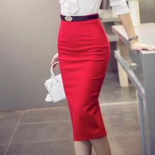 2016 otoño invierno estilo paquete cadera falda negro rojo de la vendimia las mujeres de la vendimia de cintura alta a media pierna sexy 5xl mujeres de talla grande S2751